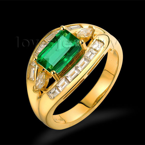 Hot! Unisex Solid 1.6ct 18kt Yellow Gold Diamond Emerald Wedding Ring For Sale WU162<br><br>Aliexpress