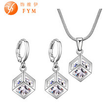 Fashion Lattice Cube Jewelry Sets for Women Silver Plated 8mm Cubic Zircon Necklace Hoop Earrings  Bridal Jewelry Sets Wholesale(China (Mainland))