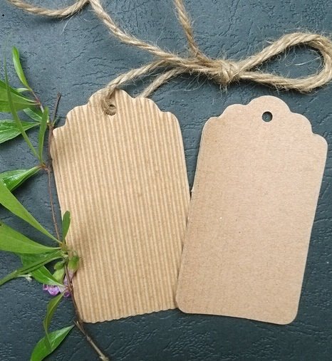 Wholesale/Vintage Scallop Kraft + Corrugated paper Blank Hang tag/ Retro DIY Gift tag/Bookmark/Table Number cards/Free Shipping(China (Mainland))
