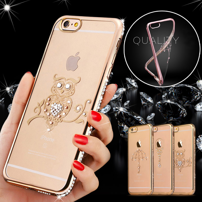 i5 5 S Case Rhinestone Plating Diamond Coque For iPhone 5/ 5S Capinha Clear Swan Cover For i Phone 5S Bling TPU Soft Capa Fundas
