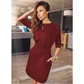 2016 Women s Casual Half Sleeve Autumn Dress Bodycon two side pocket Dress Ukraine Plus Size