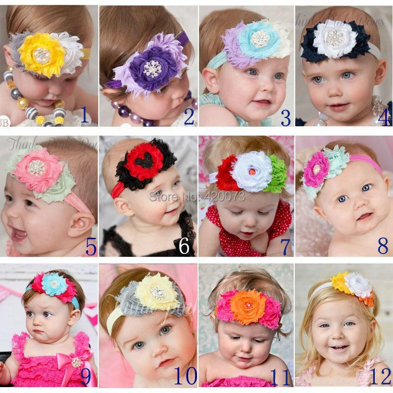 Free Shipping 10 Pcs/lot Chiffon Flower Headband For Baby,Kids Elastic Headband With Flower,Infant Headband With Embellishments(China (Mainland))