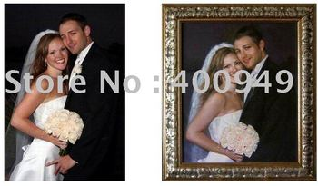 High Quality Custom Art Free Shipping!High Quality Custom Art Weddings Oil Painting From Photo on Canvas art picture on wall