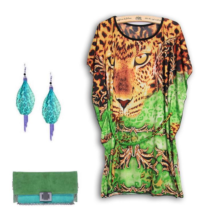 4Color L-4XL Plus Size Women Clothing Plus Clothes Casual Sexy Novelty Leopard Dress Girl Big Size 3XL XXXL XXXXL Fashion Summer(China (Mainland))
