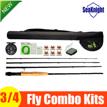 SeaKnight Fly Fishing Combo Kit 3/4 Fly Rod and Reel Set Main Line and Rod Cases Model 3/4