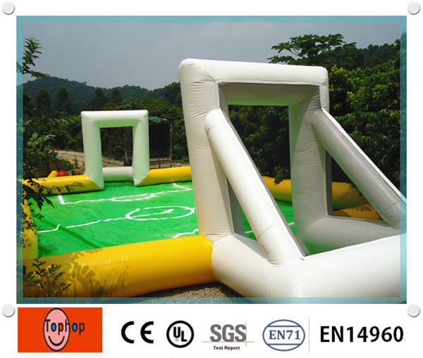Most Popular Green and Yellow PVC Tarpaulin Inflatable Football Field for Soccer Play(China (Mainland))