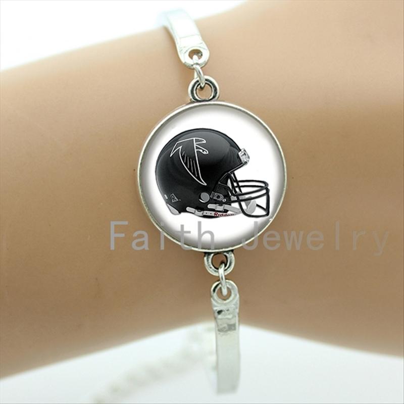 Vintage american football jewelry case for Atlanta Falcons team hawks logo helmet image bracelet retro rugby bracelets new NF116(China (Mainland))