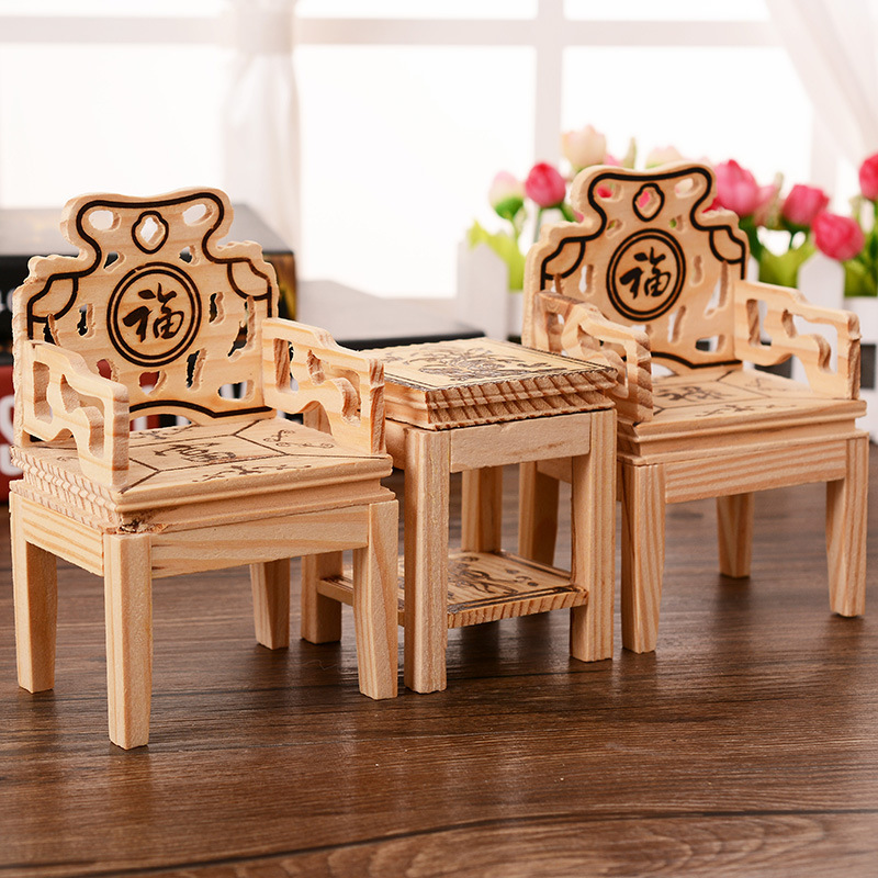 1SET Antique Style Wooden Crafts Dolls House Tea Table Kid's Play House Toys Doll Accessories Mini Furnture Home Decor(China (Mainland))