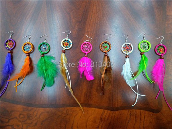 DHL Free Shipping DIY Dream Catcher Earring Cheap Birthday Gift Colorful Feather Dream Catchers(China (Mainland))