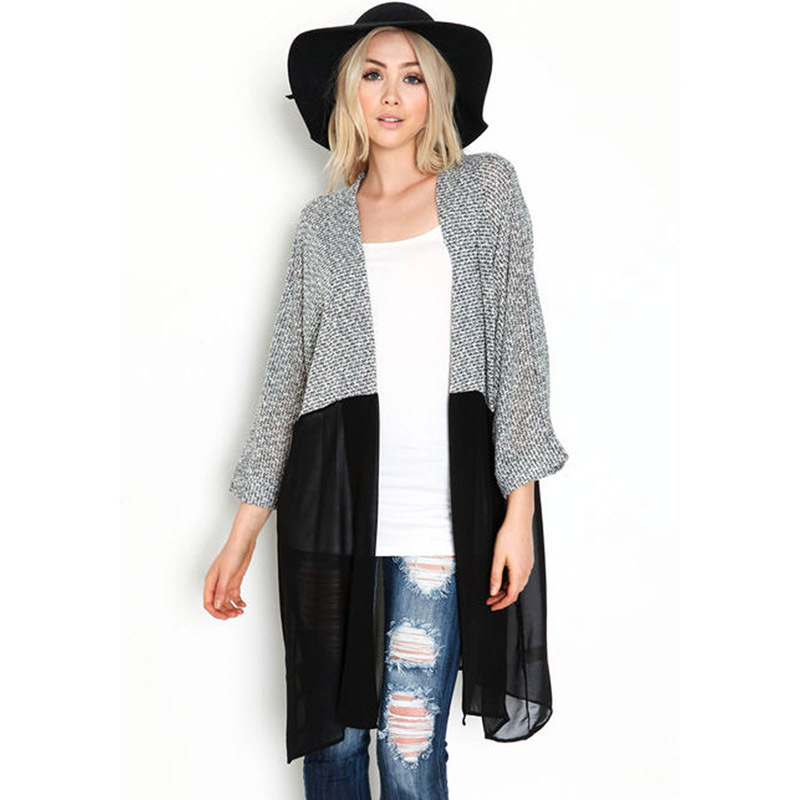 Women's Fashion Cardigan V-Neck Batwing Sleeves Knitting With Chiffon Splicing Perspective Knitted Long Cardigan Coat  Autumn