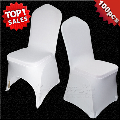 100 PCS Universal White Stretch Polyester Spandex Wedding Party Chair Covers for Weddings Banquet Hotel Decoration Decor(China (Mainland))
