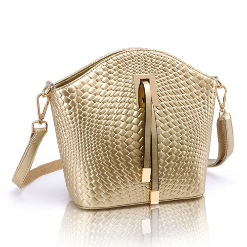 2015 New Summer Arrival Genuine Leather Knitting Pattern Korean Style Women Trapeze Bag Messenger Shoulder Crossbody Bag 3012(China (Mainland))