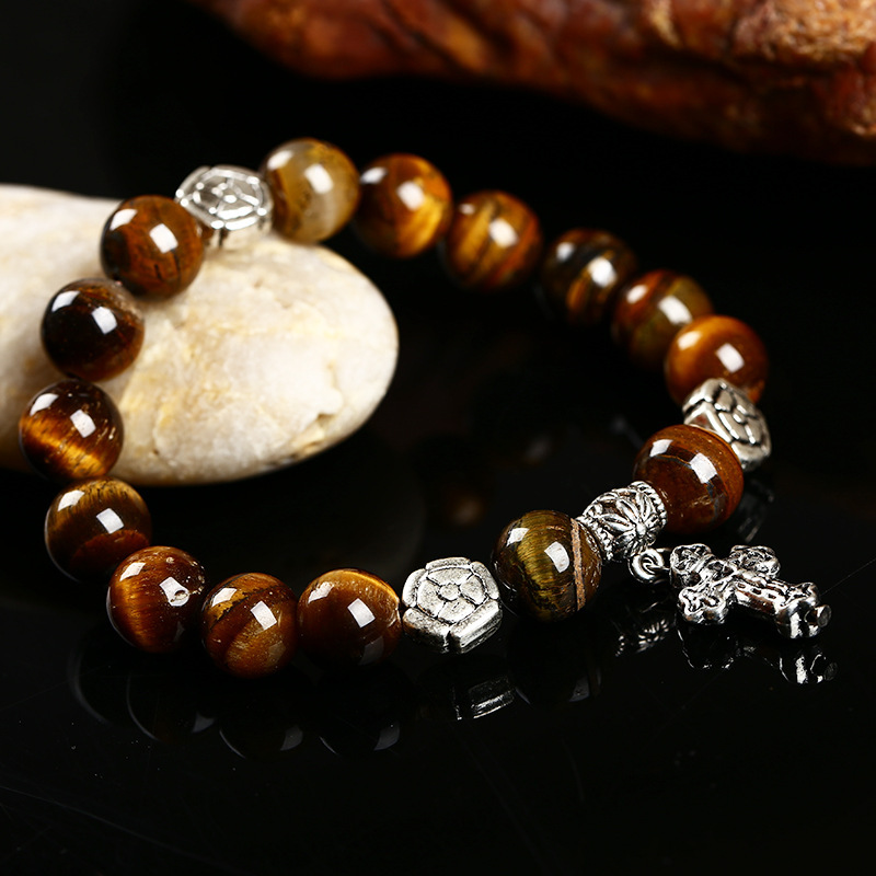 Pick Style:Natural lava, black crystal, Agate, Tiger Eye, Blue gravel Beaded Bracelets for Women and Men Cross Charm Bracelets(China (Mainland))