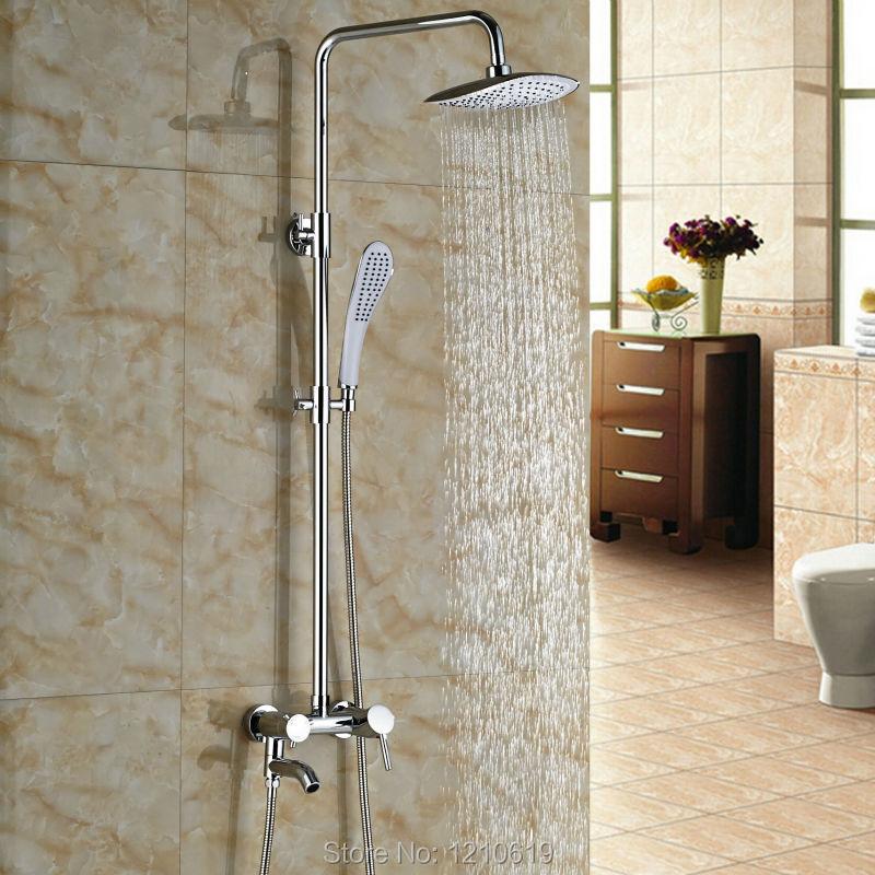 Newly Chrome Polished Bathroom Shower Set Faucet Single Handle 8