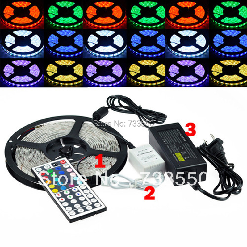 Гаджет  Best Price 5050 300 5M RGB LED Strip SMD 60led/m Waterproof + 44key IR Remote Controller + 5A Power Adapter None Свет и освещение