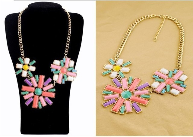 Graceful fashion new arrival shining delicate multicolor flowers short necklace