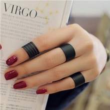 JZ103 fashion Black matte opening ring three ring high quality Midi Mid Finger Knuckle Ring Set(China (Mainland))