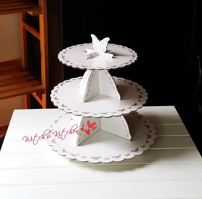 Free shipping high quality hard paper wedding party favors decoration dessert afternoon tea cupcake cake stand plain white(China (Mainland))