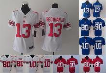 2016 Women Ladies New York Giants 13 Odell Beckham Jr. 10 Eli Manning 80 Victor Cruz 100% stitched logo(China (Mainland))