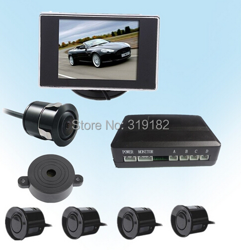 "Фотография  3.5"" Color LCD Car Parking Rear view  Monitor With Coms  parking Camera with 4 sensor radar"