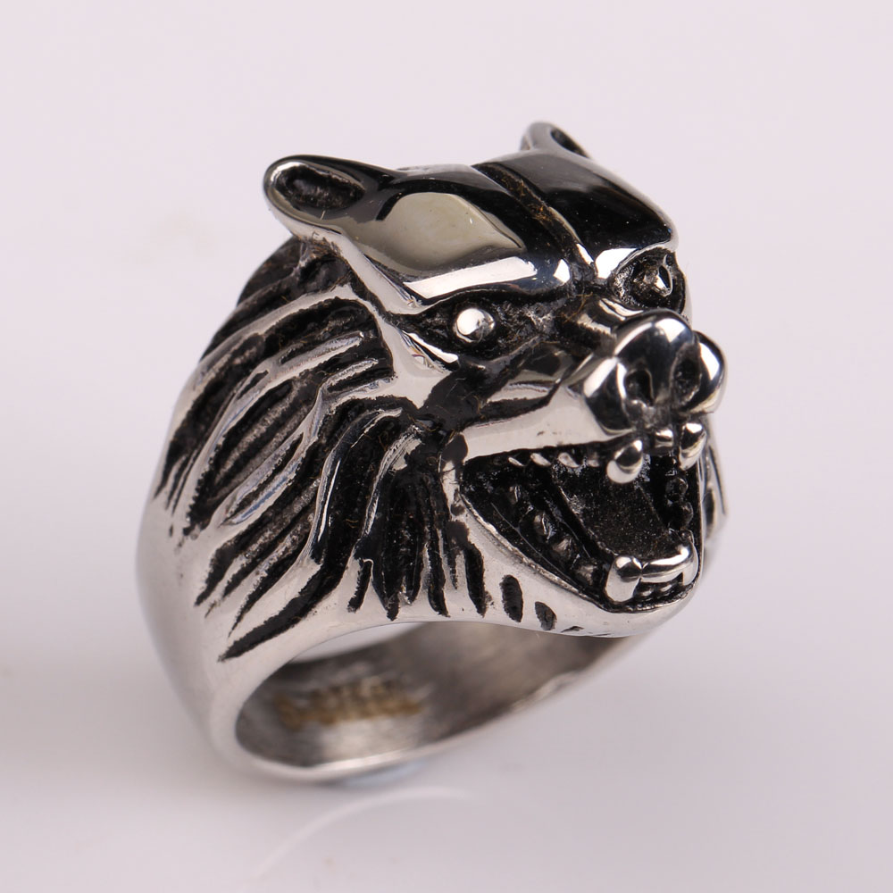 wolf 316l stainless steel material top quality 2016 new design men ring jewelry gift for pary size 7 8 9 10 11 12 free shipping(China (Mainland))