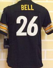 2016 Youth Pittsburgh Steelers #84 Antonio Brown #7 Ben Roethlisberger, 100% stitched logo kids black white #26 LeVeon Bell(China (Mainland))