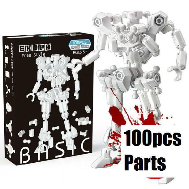 High quality 100 parts/set warrior soldier model building kit children growups toys diy transform robot army art decor kids gift<br><br>Aliexpress