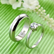 Wholesale Promotion 2 Pcs Lovers' 925 Silver Ring men, Wedding Rings for Men and Women Ulove Fashion Jewelry J063