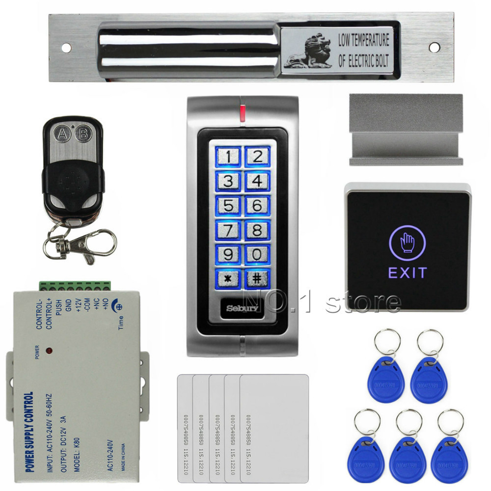 Remote Control RFID 125KHz Metal Keypad Access Control System Security Kit + Electric Bolt Lock + Touch Switch K2(China (Mainland))