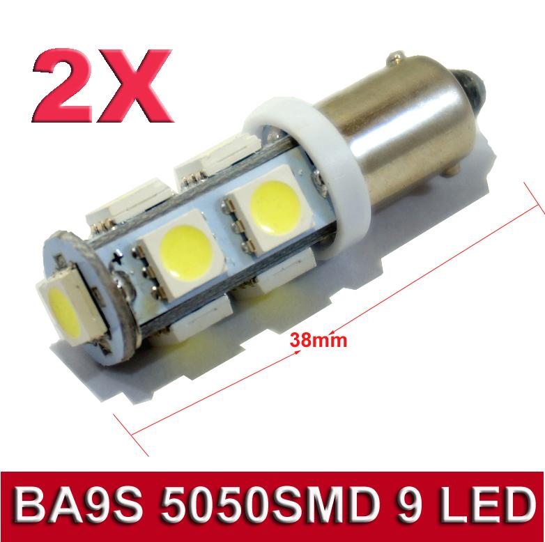2 Pcs / Lot BA9S 9 SMD 5050 LED T4W 6523 1895 9 SMD 5050 White LED Light Bulbs DC 12V for car(China (Mainland))