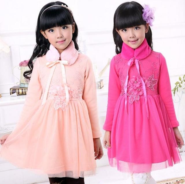 Новый зимний дети девочка с длинными рукавами платья девушки меховой воротник платье принцессы дети одеваются 3 цвета