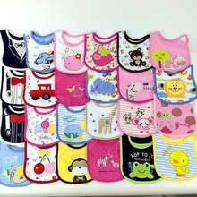 2016Hot Sale 5pcs/lot Lovely Cute Cartoon Pattern Toddler Baby Waterproof Saliva Towel Cotton Baby Bibs 5KS01