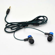 Earphone Jack Standard Metal Earphones Reflective Fiber Cloth Line Wired Earbuds Stereo Portable Media Player Headphone