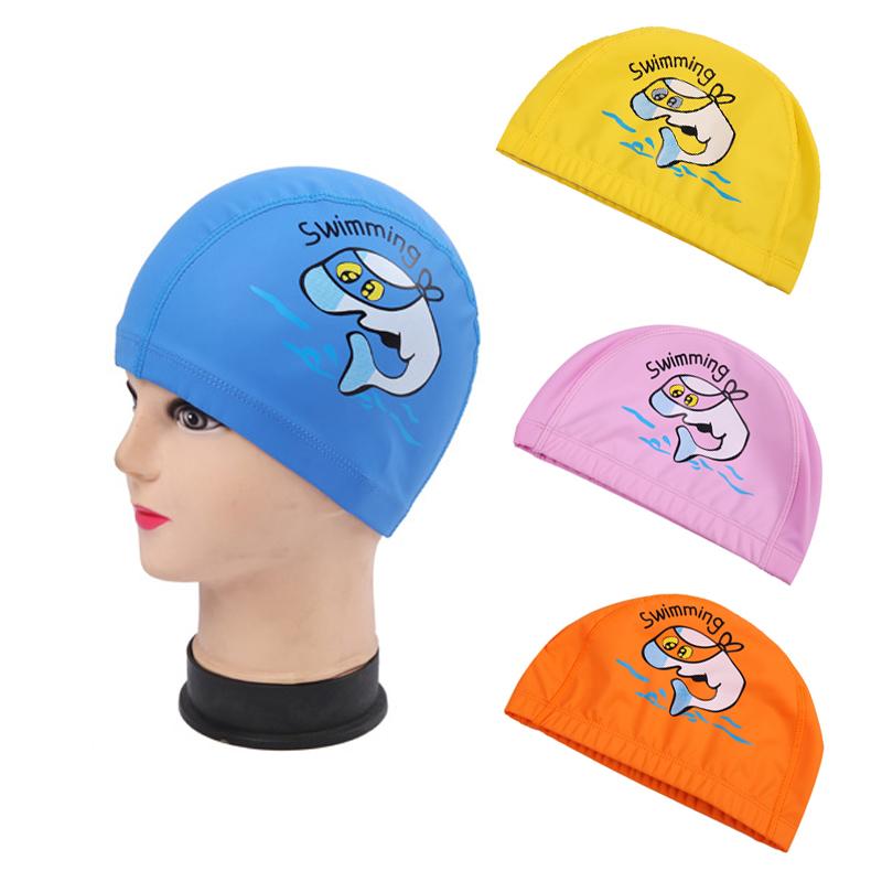 New Children's Sport Swimming Cap 4 Colors Cartoon Waterproof PU Swimming Caps Animal Printing Kid's Cover Hat Swim Gear(China (Mainland))