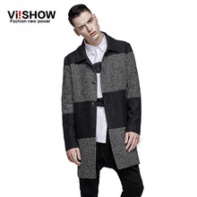 VIISHOW Fashion Men wide-waisted Designed Jacket Hot Stylish Woolen Jacket Single Breasted Trench Coat long overcoat(China (Mainland))