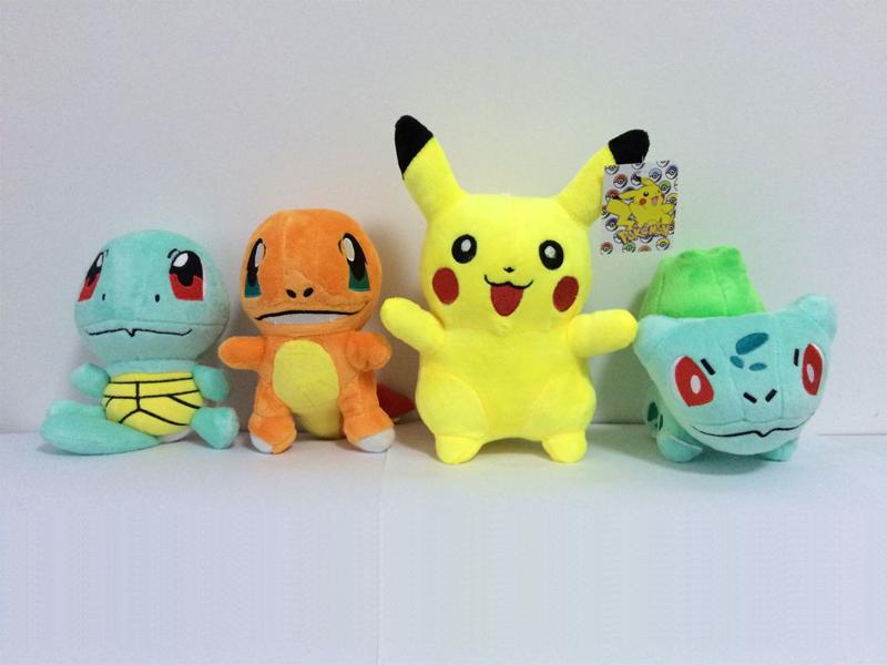 4Pcs/lot Pokemon Plush Toys Pikachu & Bulbasaur & Squirtle & Charmander Anime Movie Plush Toy Stuffed Animals Plush dolls(China (Mainland))
