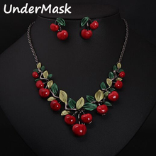 Korean Style Red cherry necklaces and earrings banquet party travel wedding engagement jewelry set fashion jewelry accessories(China (Mainland))