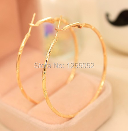 New Style Alloy Silver & Gold plated Round Loop Hoop Big Circle Earrings free shipping Hot Sale!!!(China (Mainland))
