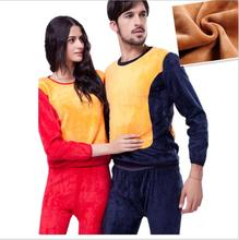OMH high quality cotton Thicken Long Johns winter Men Women round neck clothes thick Pure color Thermal Underwear suit, NY34(China (Mainland))