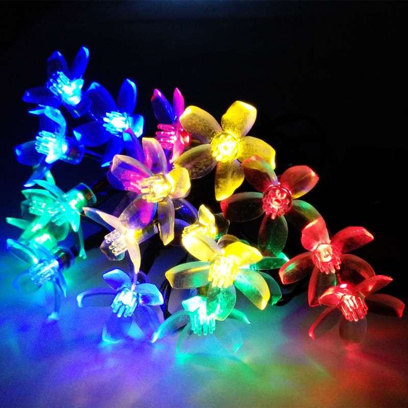 Solar Floral Pendant LED Party Garland String Lights Decoration Christmas Outdoor Garden Light Luces Cherry Solare 4.8M 20Leds(China (Mainland))