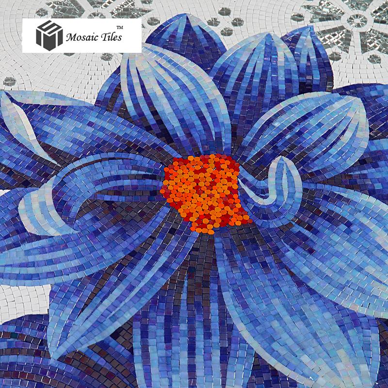 Sea blue big flower glass backsplash mosaic tile hotel hall gallery home interior wall deco art mosaic(China (Mainland))