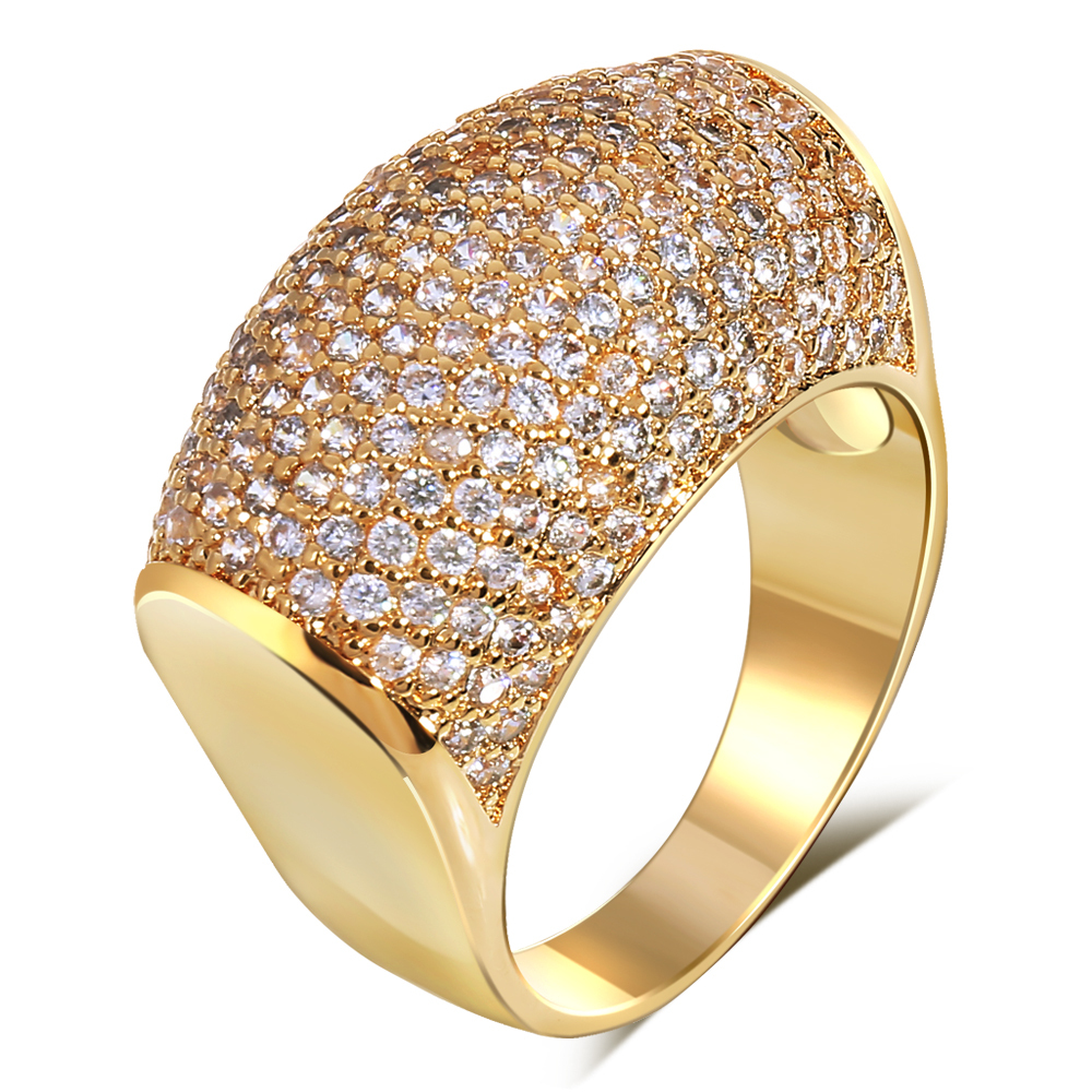Vintage Rings for women gold plated with Cubic zircon Luxury Copper ring new design style fashion jewelry Free shipping(China (Mainland))