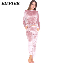 Buy EIFFTER Sexy Women Suits 2017 New Autumn Winter Fashion Velvet Long Sleeve Women 2 Piece Set Slim Pants Suits+Hoodies Sets 0226 for $16.14 in AliExpress store