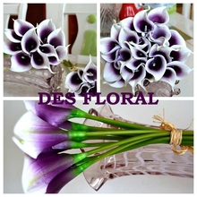 Decoravive flower 1 LOT FREE SHIPPING Real Touch Purple in White Mini calla lily bouquet artificial flowers(China (Mainland))
