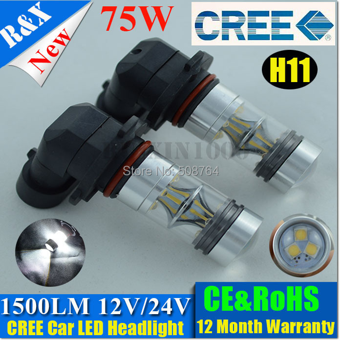 High Qualtiy 75W H11 CAR LED CREE CANBUS HIGH POWER HEADLIGHT FOG LAMP XENON WHITE AMBER YELLOW RED - RX-autoled002 store