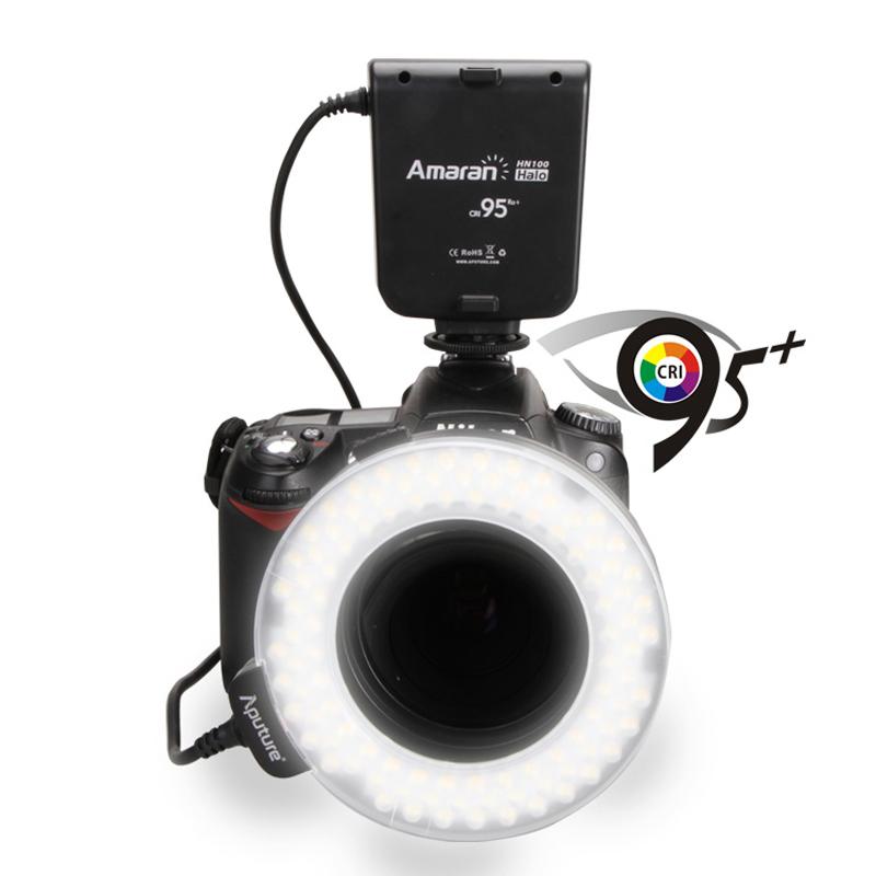Aputure HN100 CRI 95+ Amaran Halo LED Ring Flash light For Nikon D7100 D7000 D5200 D5100 D800E D800 D700 D600 D90 DSLR Camera(China (Mainland))