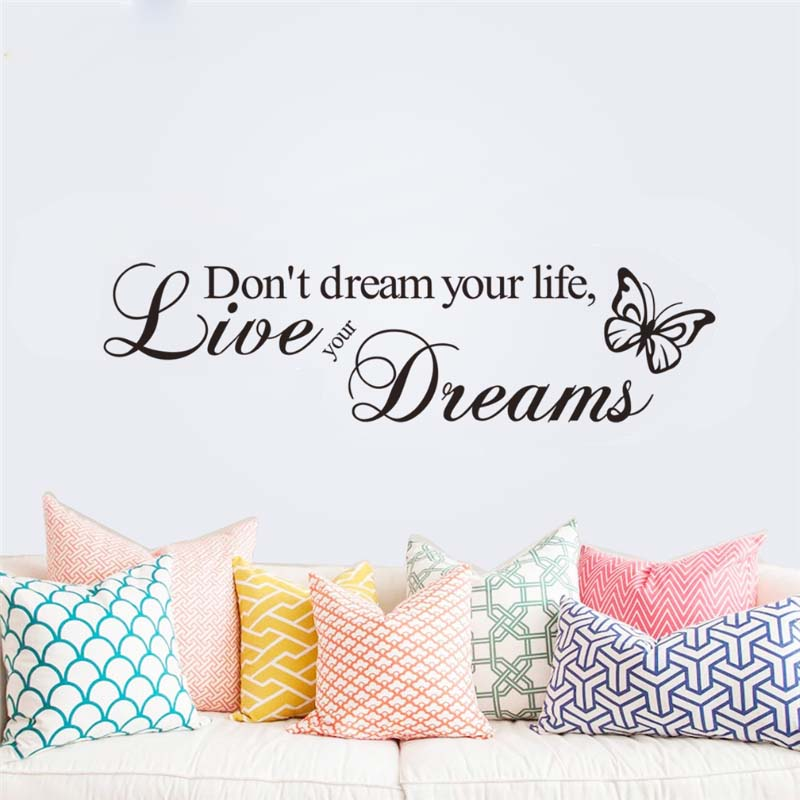 don't dream your life live your dreams wall stickers bedroom decoration zooyoo8142 adesivo de paredes vinyl home decal mural art(China (Mainland))
