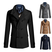 2014 Men Lapel Hooded Double Bleased Pure Color Classic Dust Trench Coat Outwear Jacket #65547(China (Mainland))