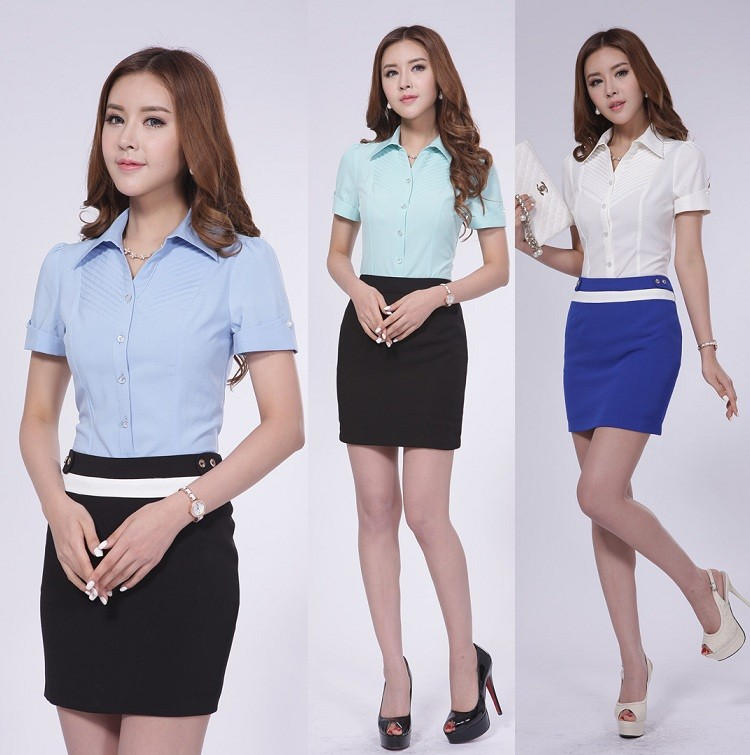 Office uniform design skirt and blouse sets office uniform for Office uniform design 2015