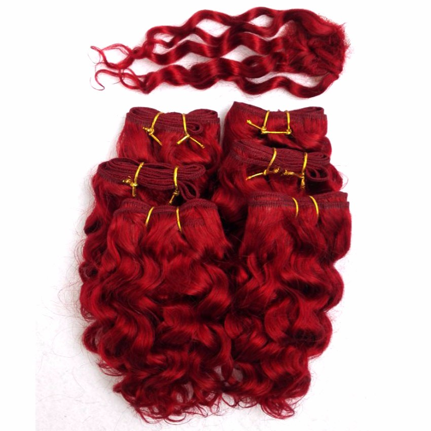 Hot Sale deep wave weave with closure Brazilian deep hair 6 bundles with closure red color 8 inch short crochet hair extension